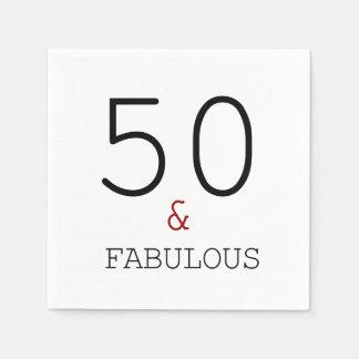 50 & Fabulous. Birthday Party Paper Napkins Disposable Napkin