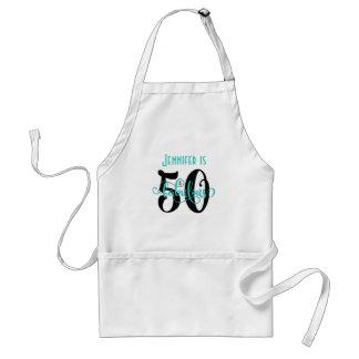 50 & Fabulous Black & Aqua 2 Typography Birthday Standard Apron
