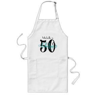 50 & Fabulous Black & Aqua Typography Birthday Long Apron