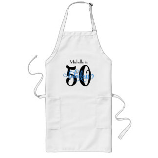 50 & Fabulous Black & Blue Typography Birthday Long Apron