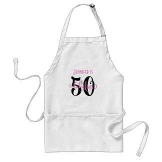 50 & Fabulous Black & Pink 2 Typography Birthday Standard Apron
