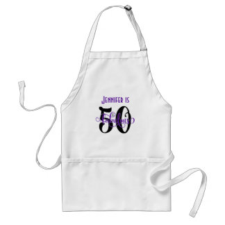 50 & Fabulous Black & Purple 2 Typography Birthday Standard Apron