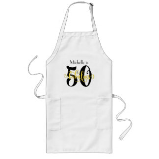 50 & Fabulous Black & Yellow Typography Birthday Long Apron