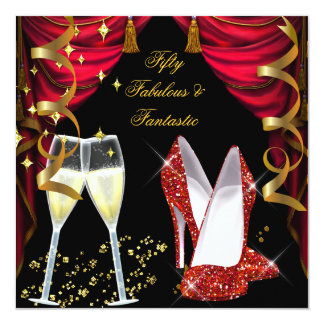 50 Fabulous & Fantastic Red Champagne Party 13 Cm X 13 Cm Square Invitation Card