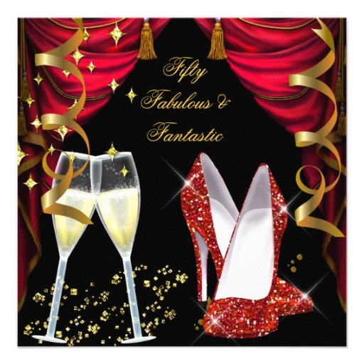 50 Fabulous & Fantastic Red Champagne Party Custom Invite