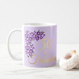 50 & Fabulous Faux Gold and Violet Flowers Coffee Mug