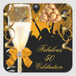 50 & Fabulous Gold Black Birthday Champagne