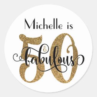 50 & Fabulous Gold Glitter Typography Birthday Classic Round Sticker