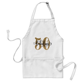 50 & Fabulous Gold Glitter Typography Birthday Standard Apron