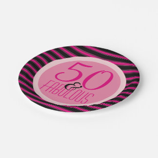 50 Fabulous Hot Pink Stripes Woman's 50th Birthday Paper Plate