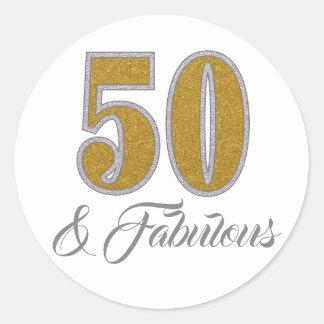 50 & Fabulous I  Golden Glitter Design Sticker