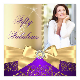 50 & Fabulous Photo Gold Purple Bow 50th Birthday 13 Cm X 13 Cm Square Invitation Card