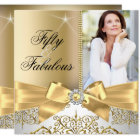 50 Fabulous Photo Gold Silver Bow 50th Birthday Card