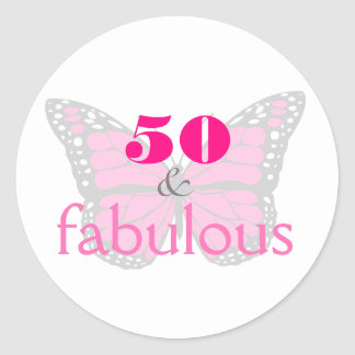 50 & Fabulous Pink 50th Birthday Butterfly Classic Round Sticker