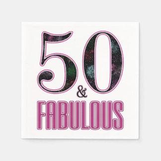 50 & Fabulous Pink Black Typography 50th Birthday Disposable Napkins