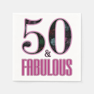 50 & Fabulous Pink Black Typography 50th Birthday Disposable Serviette