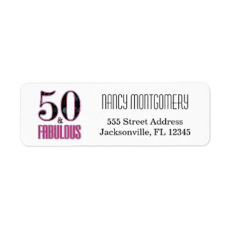 50 & Fabulous Pink Black Typography 50th Birthday Return Address Label