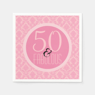 50 & Fabulous Pink Damask | Woman's 50th Birthday Disposable Serviette