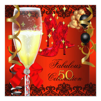 50 Fabulous Red Black Gold 50th Champagne Party Card