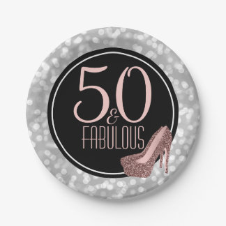 50 & Fabulous | Silver Pink 50th Birthday Party Paper Plate
