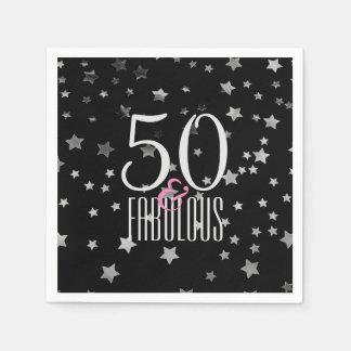 50 & Fabulous Silver Stars | Elegant 50th Birthday Disposable Serviette