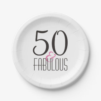 50 & Fabulous   Woman's Elegant Birthday Party Paper Plate