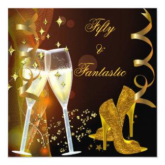 50 & Fantastic Fabulous Gold Champagne Shoes 13 Cm X 13 Cm Square Invitation Card