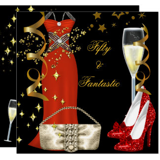 50 Fantastic Red Dress Black Gold Birthday Party Card