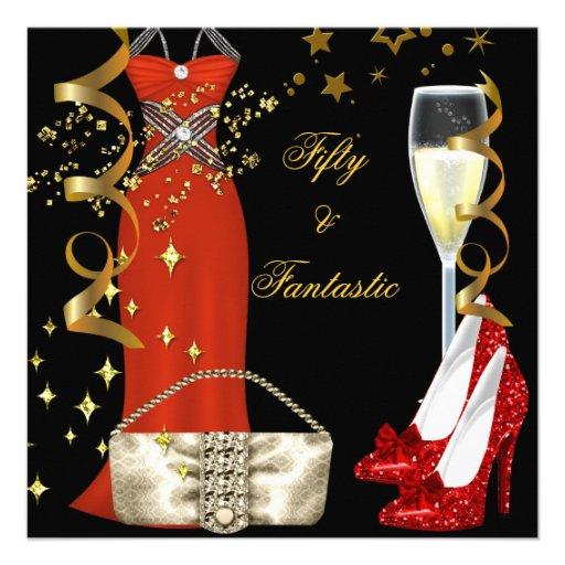 50 & Fantastic Red Dress Black Gold Birthday Party Custom Invitations