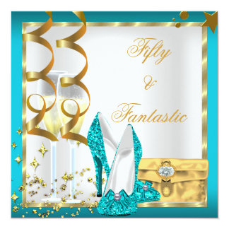 50 & Fantastic Teal White Gold Birthday Party 13 Cm X 13 Cm Square Invitation Card