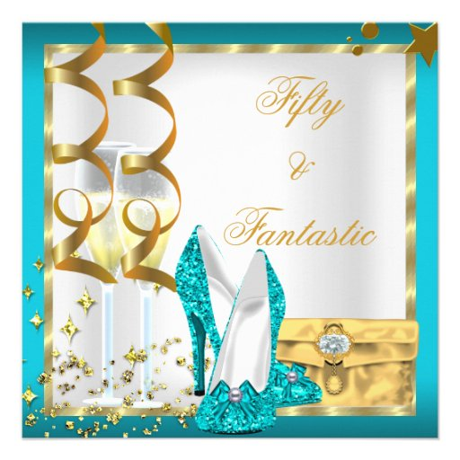 50 & Fantastic Teal White Gold Birthday Party Personalized Invite