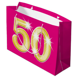 50 Fiftieth Fifty birthday anniversary Large Gift Bag