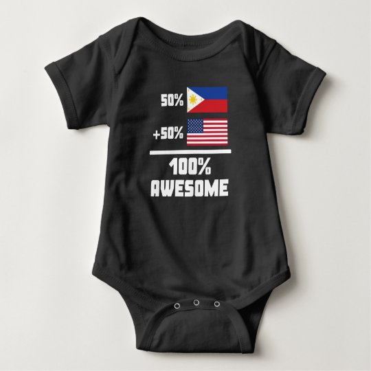 50% Filipino 50% American 100% Awesome Baby Bodysuit