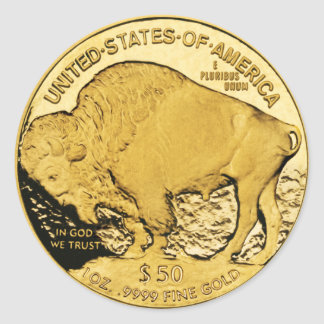 $50 Gold Coin American Buffalo (pack of 6/20) Round Sticker