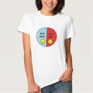 50% Good and 50% Bad Pie Chart Tee Shirts