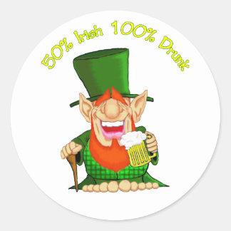 50% irish 100 % drunk round sticker