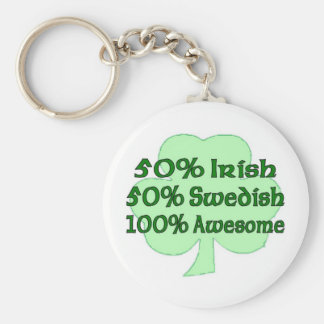 50% Irish 50% Swedish 100% Awesome Basic Round Button Key Ring