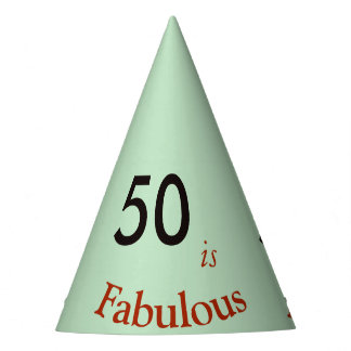50 is Fabulous paper party hat pastel grey-green