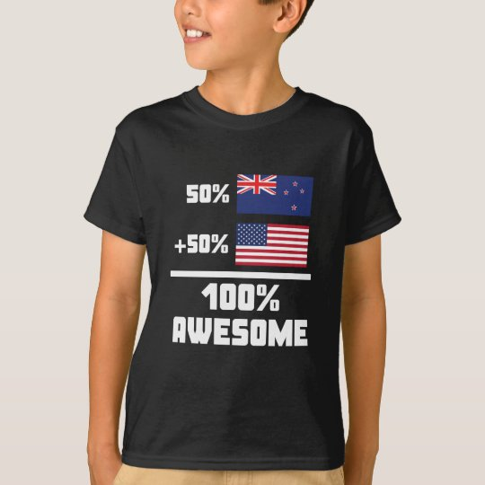 50% Kiwi New Zealand 50% American 100% Awesome T-Shirt