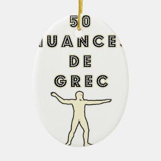 50 NUANCES OF GREEK - Word games - François City Ceramic Ornament