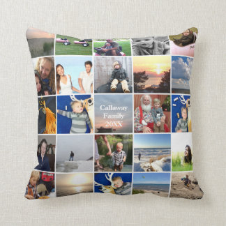 50 of Your Instagram Photos Here White Frame Cushion