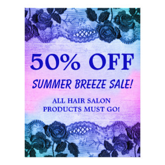 50 OFF Sale Flyer Rose Floral Blue