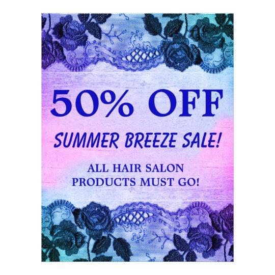 50 OFF Sale Flyer Rose Floral Blue