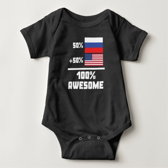 50% Russian 50% American 100% Awesome Baby Bodysuit