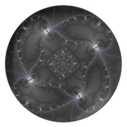 50 Shades Of Grey - Fractal Art Plate