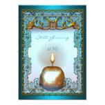 50 Still Glowing Birthday Teal Gold Candle Glow 13 Cm X 18 Cm Invitation Card