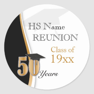 50 Year Class Reunion in Gold and Black Classic Round Sticker