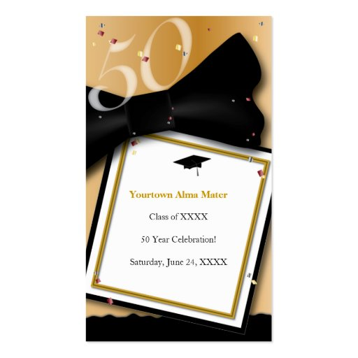 50 Year Class Reunion Informational Card Business Card Templates