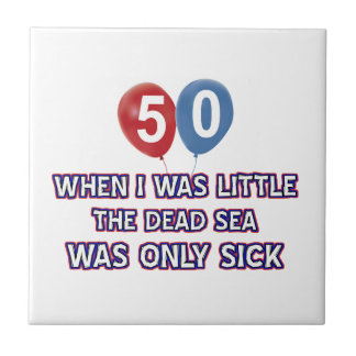 50 year old dead sea birthday designs small square tile