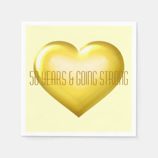 50 years and going strong gold heart anniversary disposable serviette